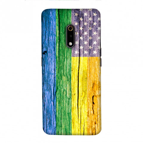 Pride Flag- Wooden Texture Slim Hard Shell Case For Realme X