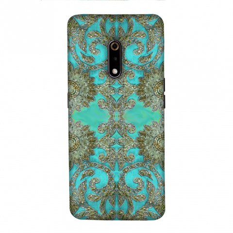 Beads And Threadwork - Aquamarine And Gold Slim Hard Shell Case For Realme X