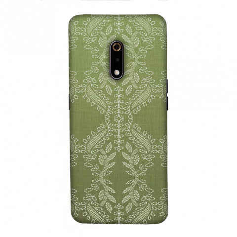 Chikankari Vines Repeats - Olive green Slim Hard Shell Case For Realme X