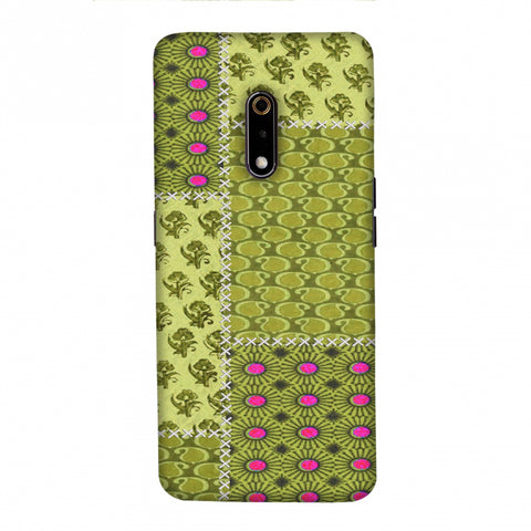 Patchwork - Woven Fabrics - Olive Green Slim Hard Shell Case For Realme X