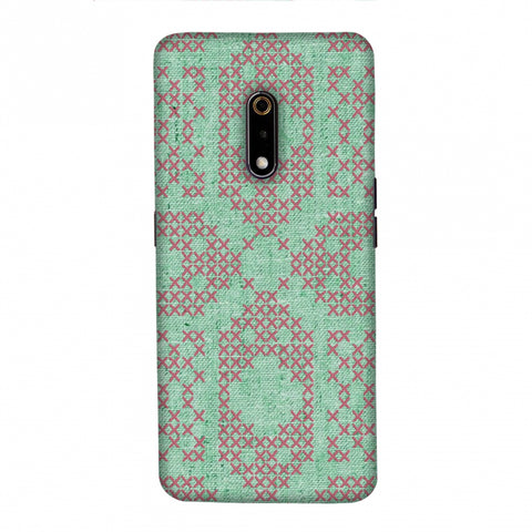 Cross Stitch Geometrics - Teal And Pink Slim Hard Shell Case For Realme X