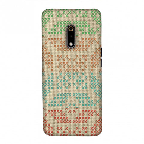Cross Stitch Geometrics - Multicoloured Slim Hard Shell Case For Realme X