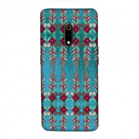 Gotapatti Borders - Teal Slim Hard Shell Case For Realme X