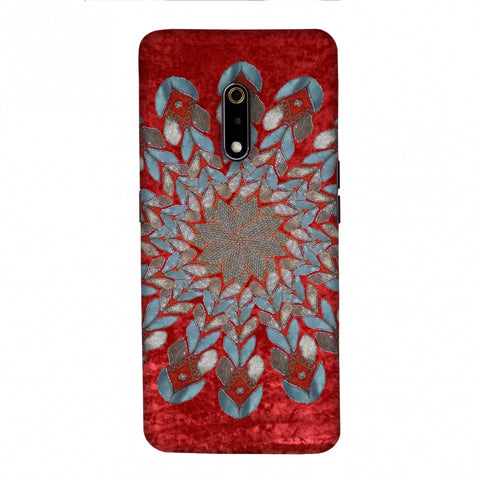 Gotapatti Florals - Rust Red Slim Hard Shell Case For Realme X