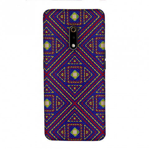 Geometric Kantha And Gujarati Mirrorwork - Indigo And Pink Slim Hard Shell Case For Realme X