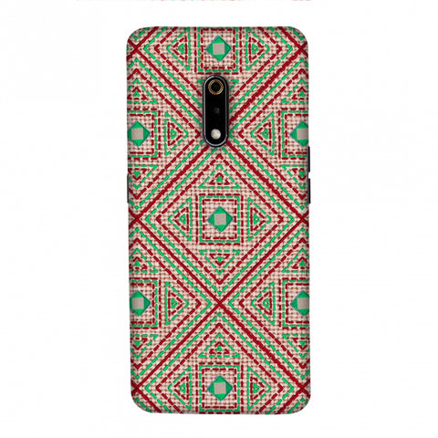 Geometric Kantha And Gujarati Mirrorwork - Beige And Red Slim Hard Shell Case For Realme X