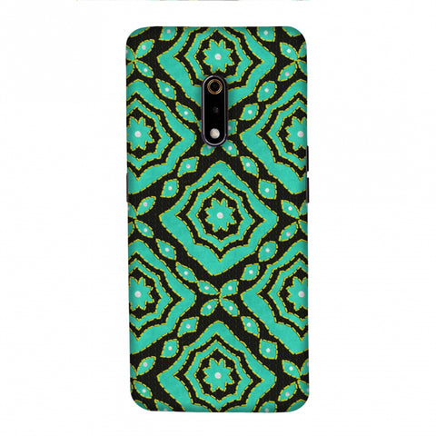 Kantha And Patchwork - Cyan Slim Hard Shell Case For Realme X