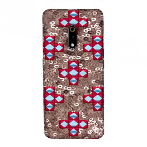 Gujarati Mirrorwork And Sequins - Copper And Red Slim Hard Shell Case For Realme X