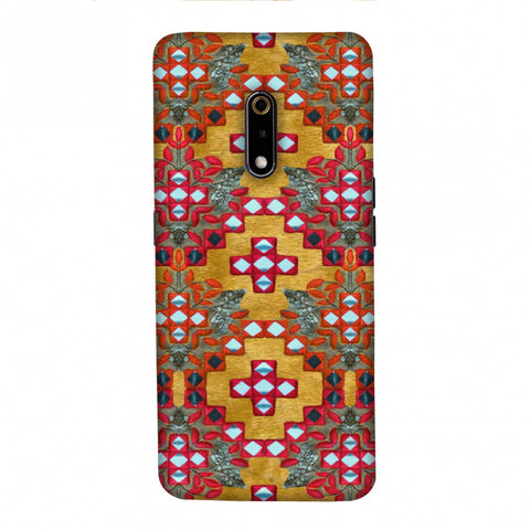 Gujarati Mirrorwork Geometric Florals - Mustard Slim Hard Shell Case For Realme X