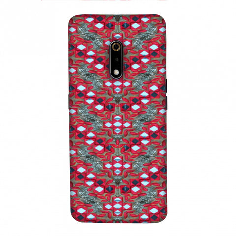 Gujarati Mirrorwork Geometric Florals - Red And Silver Slim Hard Shell Case For Realme X