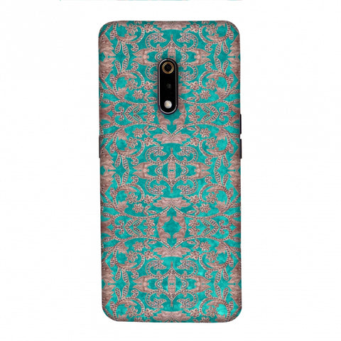 Patchwork And Sequins - Teal Slim Hard Shell Case For Realme X