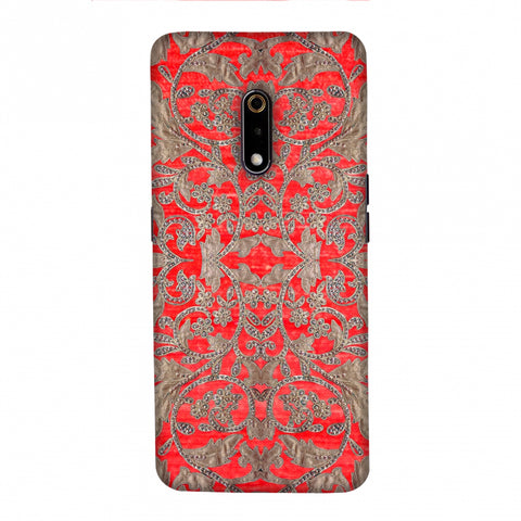 Patchwork And Sequins - Red Slim Hard Shell Case For Realme X