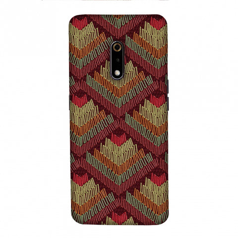 Phulkari Pattern Ascends - Rust Maroon Slim Hard Shell Case For Realme X