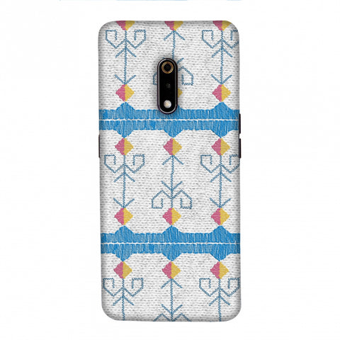 Geometric Phulkari Stripes- Blue And White Slim Hard Shell Case For Realme X