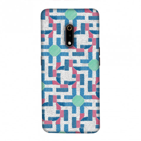 Geometric Phulkari - Blue And Green Slim Hard Shell Case For Realme X