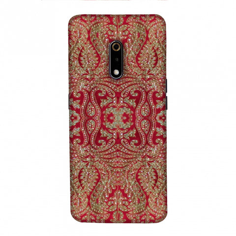 Zardozi Geometric Motifs - Red Slim Hard Shell Case For Realme X