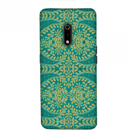 Thread And Sequins Work - Sea Green Slim Hard Shell Case For Realme X