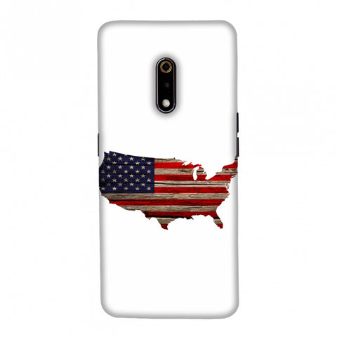 USA Flag Cutout - Wooden Texture Slim Hard Shell Case For Realme X