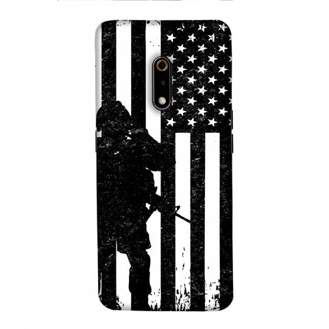 USA Flag - Soldier - Monochrome Slim Hard Shell Case For Realme X