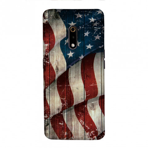 USA Flag - Vintage Wooden Texture Slim Hard Shell Case For Realme X