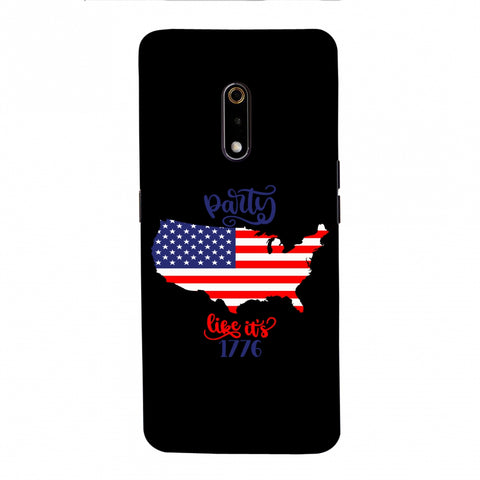 USA Flag - Party Like Its 1776 Slim Hard Shell Case For Realme X
