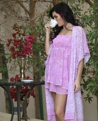 Pink and White Pajama Set