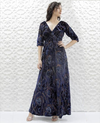 Midnight Blue Velvet Dress with Sequins