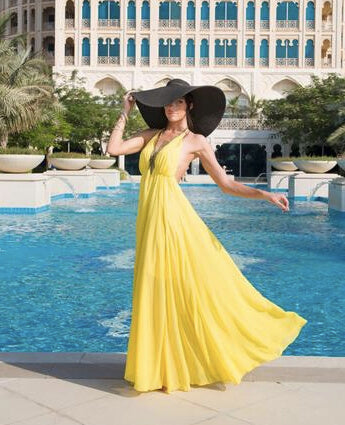 Yellow Halter-Neck Chiffon Dress