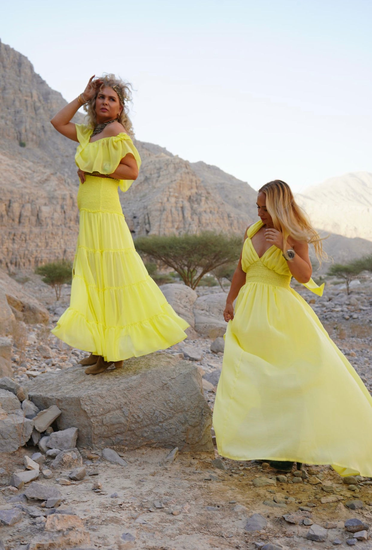 Yellow Helen halter dress