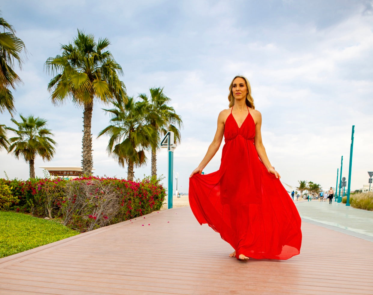 Red Halter-Neck Chiffon Dress