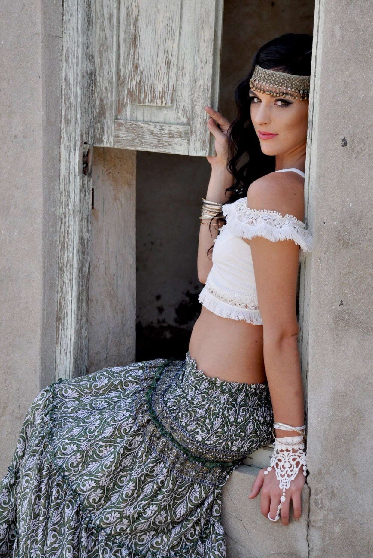 Green and white gypsy skirt