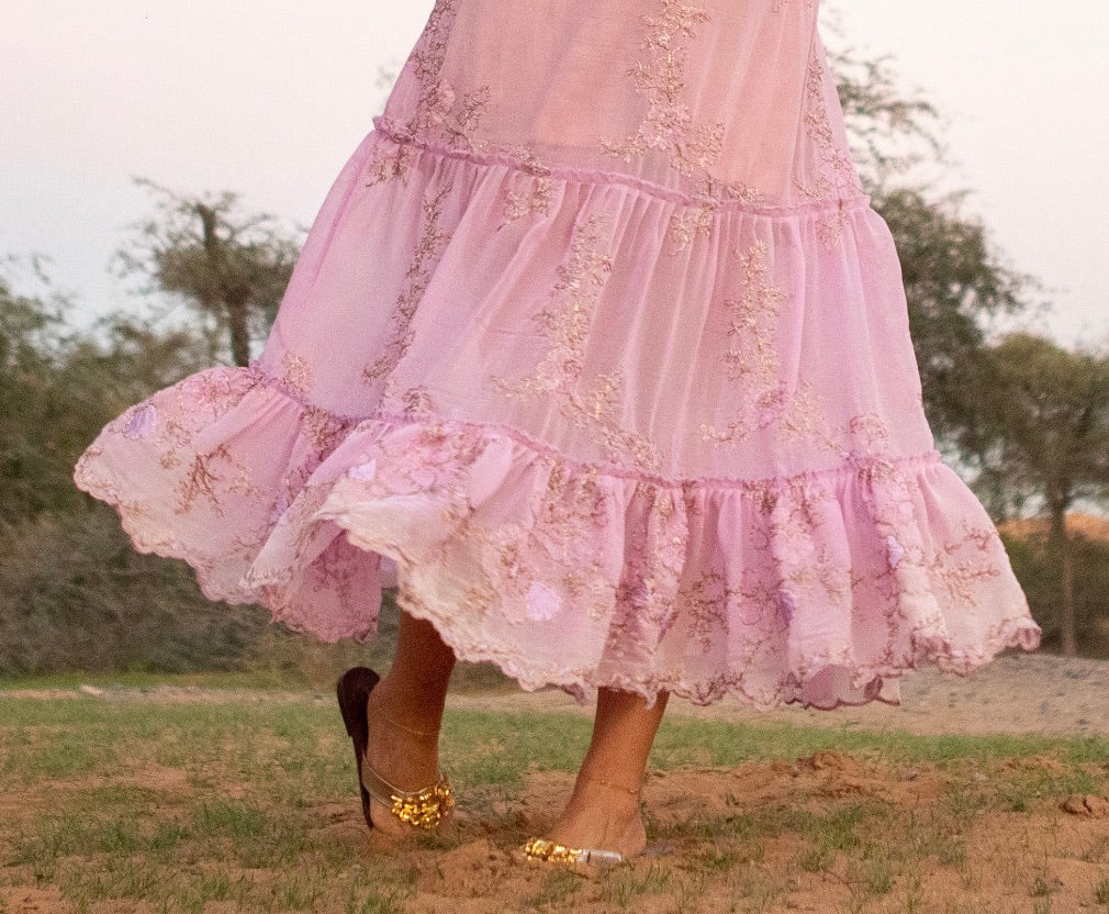 Pink and gold tiered dress with sleeves