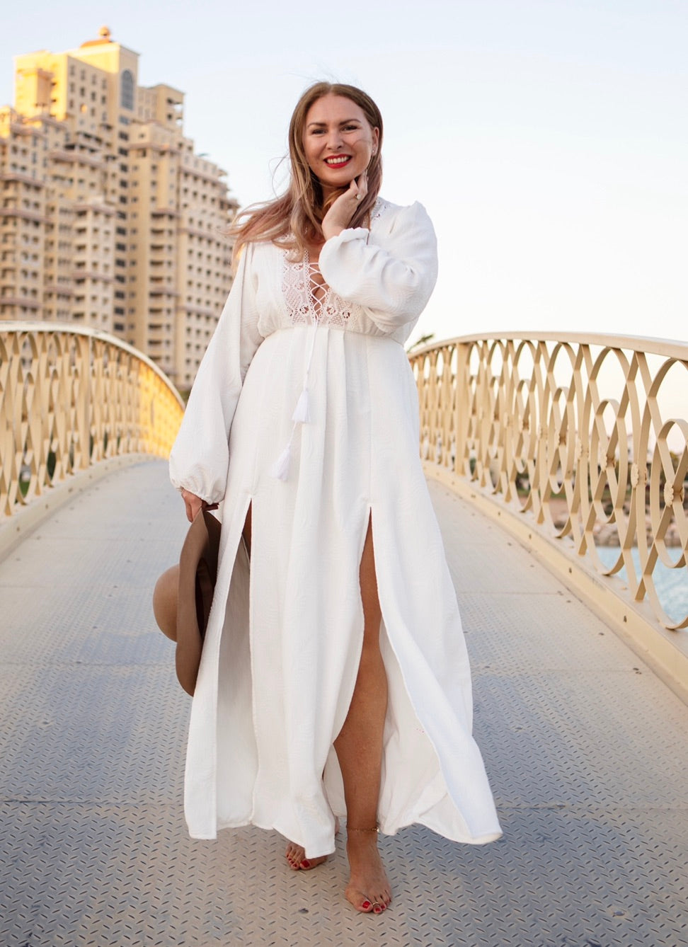 White v neck maxi dress