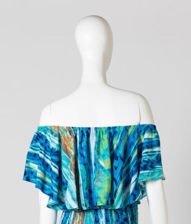 Blue water melon print top