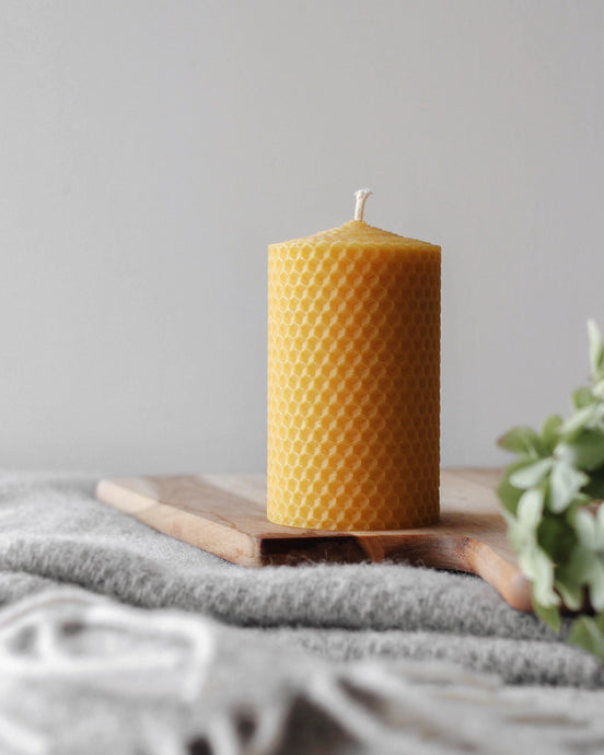 Beeswax Hand-Rolled Pillar Candle - Goldrick Natural Living - Beeswax - Zero Waste - Eco