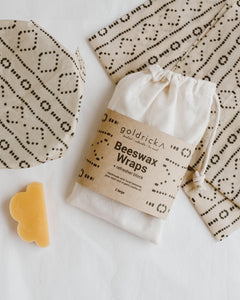 Artisan Beeswax Wraps | 2 Large + Refresher Block | Mudcloth Design