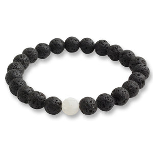 Black Lava Natural Stone Bead Bracelet and Tiger Eye Bead Strand Bracelet