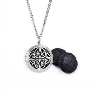 Antique Silver Dream Catcher Lava Stone Essential Oil Diffuser Necklace