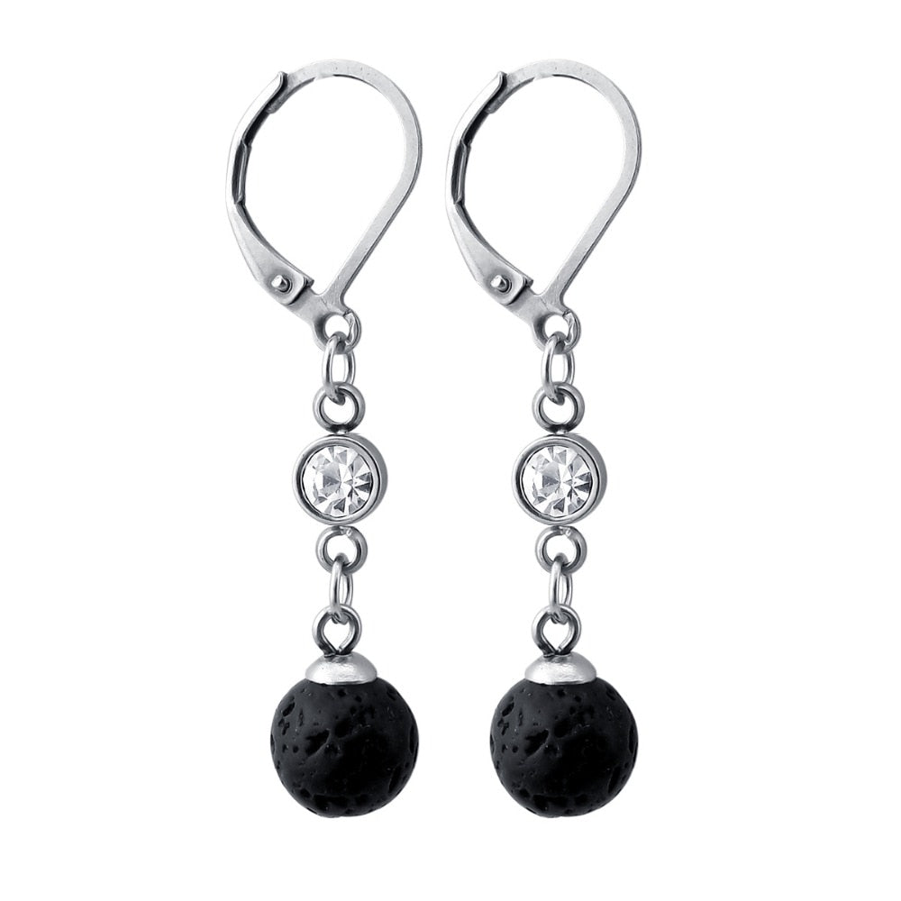Crystal Bliss Lava Stone Essential Oil Diffuser Earrings