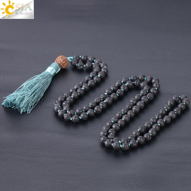 Natural Lava Stone Bead Chakra Necklace