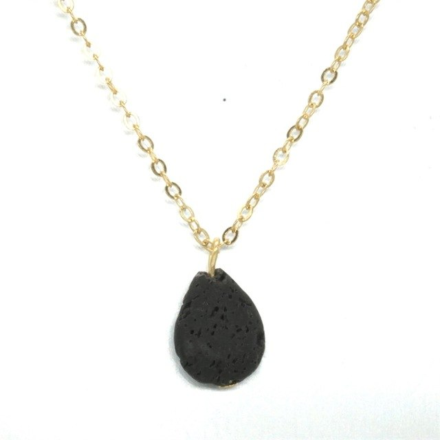 Natural Water Drop Black Lava Stone Necklace