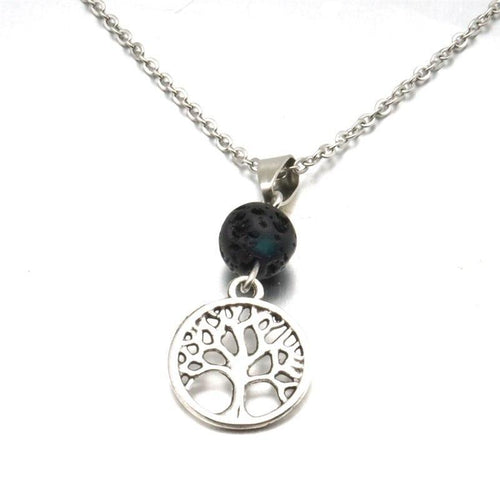 Silver Tree of life Lava Stone Essential Oil Diffuser Necklace