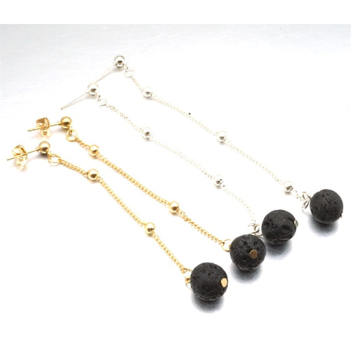 Hello Fashion Black Lava Stone Beads Earrings