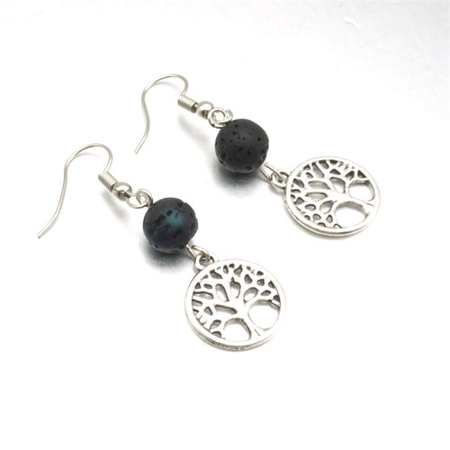 Tree of Life Black Lava Stone Essential Oil Diffuser Earrings