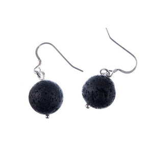 Classic Black Lava and Silver Essential Oil Diffuser Earrings (2 Styles)