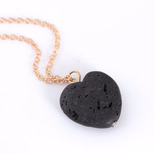 Black Love Heart Lava Stone Diffuser Necklace