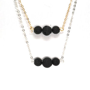 Trinity Black Lava Stone Necklace (Gold and Silver Style)