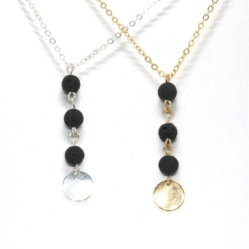 Classic Fashion Mini Black Lava Stone Necklace