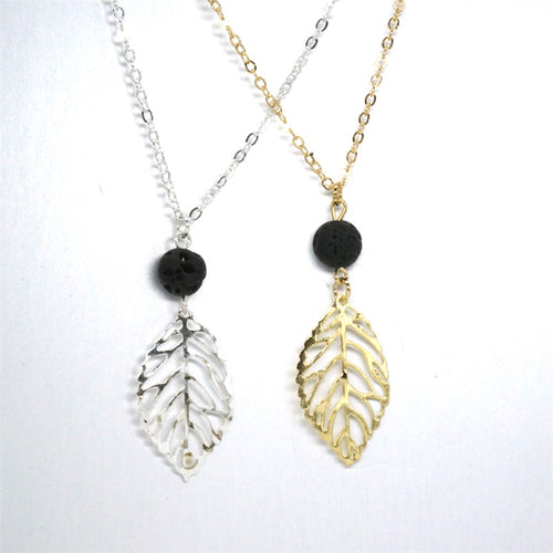 Fashion Leaf Black Lava Stone Necklace
