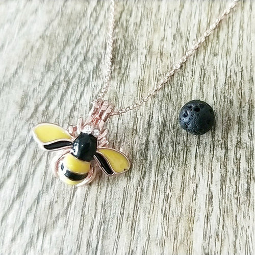 Honeybee Black Lava Stone Necklace (4 colours)